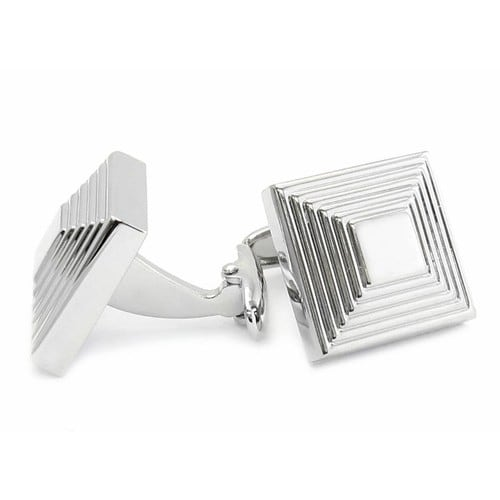 The Steps In Silvertone Cufflinks