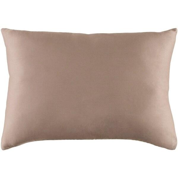 """19"""" Light Gray Woven Indoor Rectangular Throw Pillow - Down Filler"""