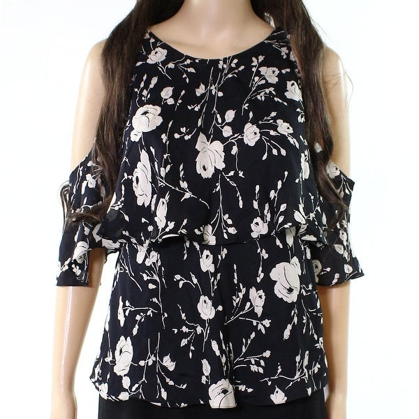 0919f60609b6ed Shop Polo Ralph Lauren NEW Black Womens Size 4 Floral Cold-Shoulder Blouse  - Free Shipping Today - Overstock - 21476911