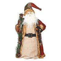 "18"" Patchwork Plaid Santa Claus Decorative Christmas Tree Topper or Figurine"