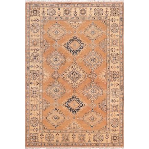 "Tribal Kazak Kristeen Brown/Beige Hand-knotted Wool Rug- 5'0"" x 6'9"" - 5'0"" x 6'9"""