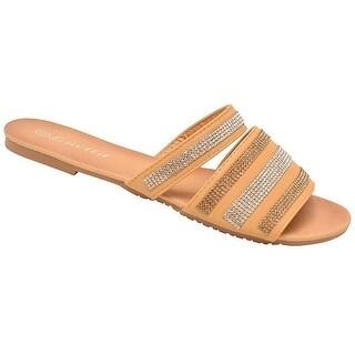 Lucita Adult Tan Glitter Rhinestone Open Toe Slipper Sandals