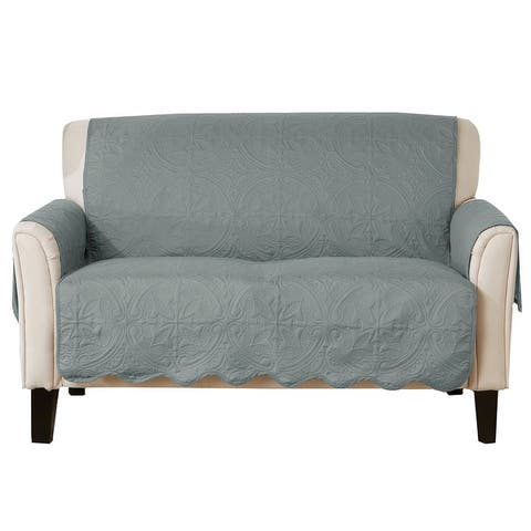 Great Bay Home Elenor Solid Reversible Love Seat Furniture Protector