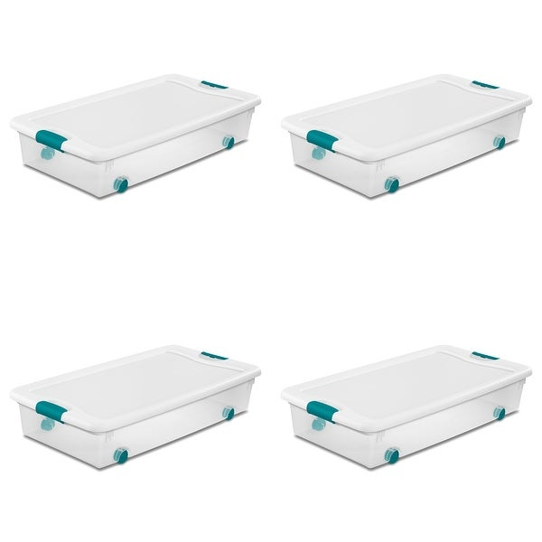STERILITE 56 Quart Wheeled Latching Boxes, Clear - Case of 4. Opens flyout.