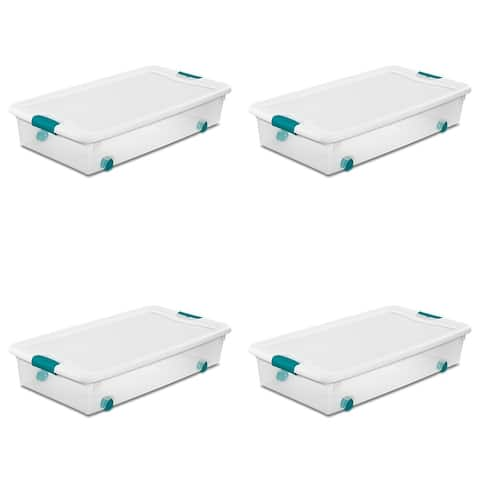 STERILITE 56 Quart Wheeled Latching Boxes, Clear - Case of 4