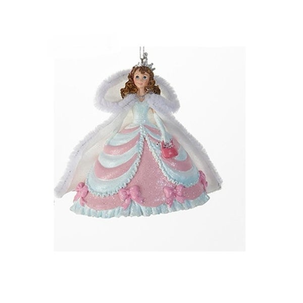 "4"" Decorative Pink and Blue Princess with Cape Hanging Christmas Ornament"