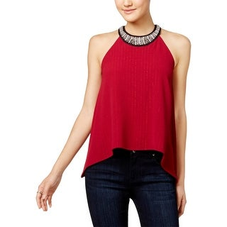 Miss Chievous Womens Juniors Casual Top Embellished Asymmetric - S