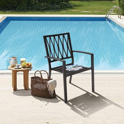 NUU GARDEN Wrought Iron Patio Dinning Chair(Set of 2)