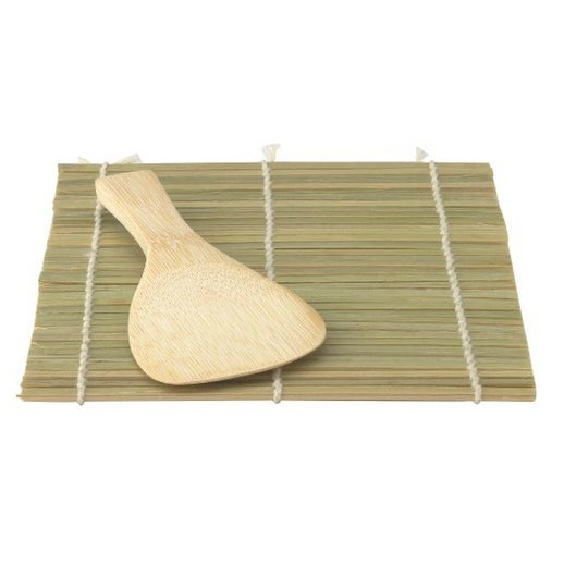 Helen Chen Asian Kitchen 97082 Traditional Bamboo Sushi Mat and Wide Paddle