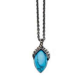 Chisel Stainless Steel Simulated Turquoise Marcasite Antiqued Necklace (2 mm) - 18 in