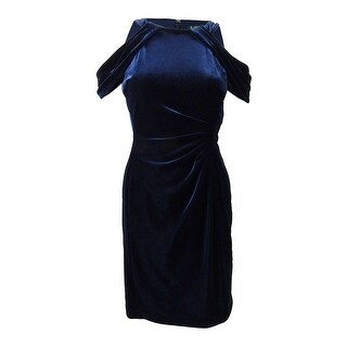 Lauren by Ralph Lauren Women's Velvet Off-The-Shoulder Dress - navy