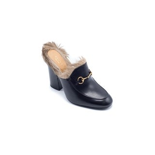 Gucci Womens Princetown Fur-Trimmed Leather Mules Clogs