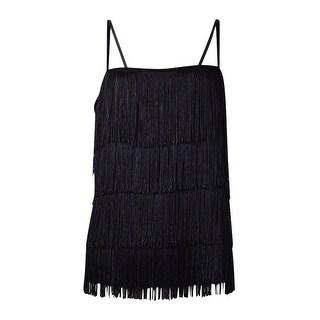 Lauren Ralph Lauren Women's Velvet Trim Fringed Camisole - Black