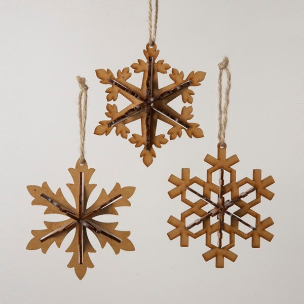 Pack of 24 Brown Snowflake Christmas Ornaments 5.5""