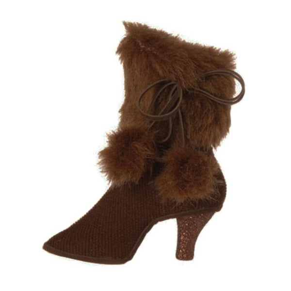 """5"""" Fashion Avenue Brown High Heel Boot with Faux Fur Cuff Christmas Ornament"""