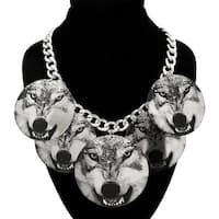 Printed Wolf Circle Dangle Silver Necklace