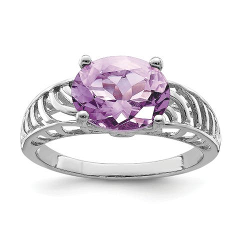 Sterling Silver Rhodium-plated Polished Pink Quartz 2mm Ring by Versil