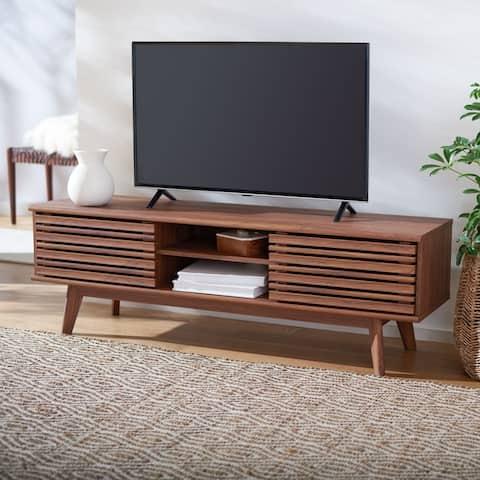 """SAFAVIEH Esma Walnut 59-inch Storage Media TV Stand - 58.7"""" W x 15.2"""" L x 18.6"""" H"""