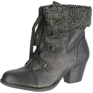 Refresh Women's Lola-02 Lace Up Shearling Bootie