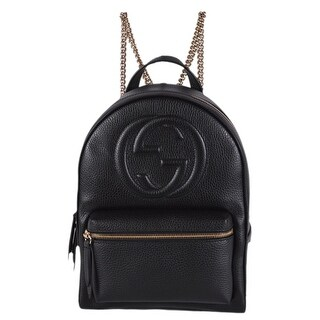 Gucci Women's 536192 Black Leather SOHO Chain Strap Small Backpack Purse Bag