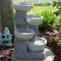 Sunnydaze 4-Tier Descending Stone Bowls Outdoor Fountain with LEDs - 22-Inch