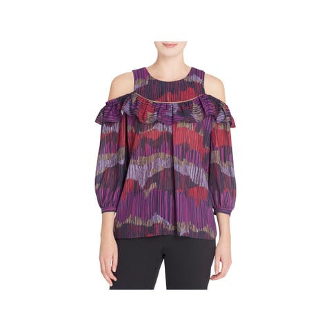Catherine Malandrino Womens Blouse Printed Ruffled