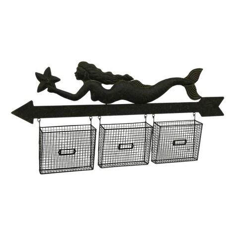 Mail Holder Mermaid & Arrow Wall Hanging w/3 Mesh File Storage Baskets