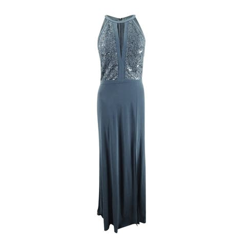 Nightway Women's Lace-Trim Illusion Halter Gown (8, Charcoal) - Charcoal - 8