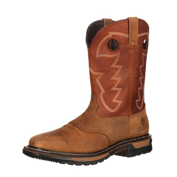 """Rocky Western Boots Mens 11"""" Original Ride Leather Tan"""