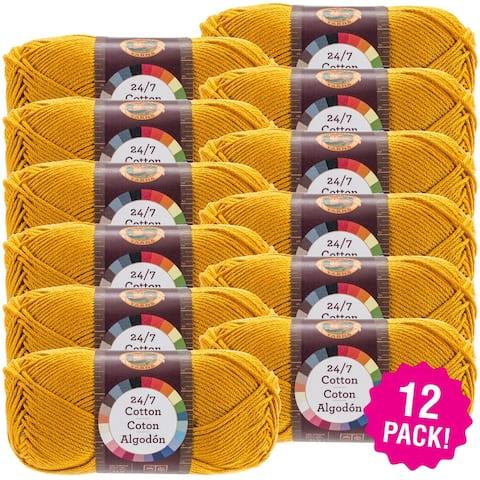 Lion Brand 24/7 Cotton Yarn - 12/Pk-Goldenrod - Orange