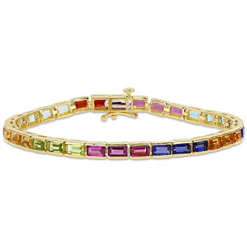Octagon-Cut Multi-Gemstone Tennis Bracelet in Yellow Plated Sterling Silver by Miadora