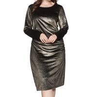 RACHEL Rachel Roy Gold Womens Size 1X Plus Ruched Sheath Dress