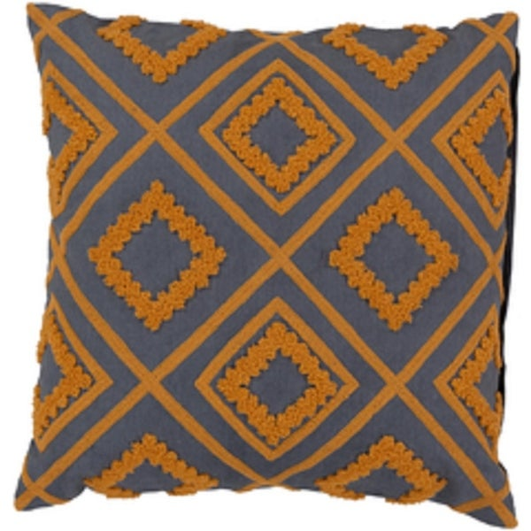 "18"" Apricot Orange and Charcoal Gray Diamond Cotton Decorative Throw Pillow"