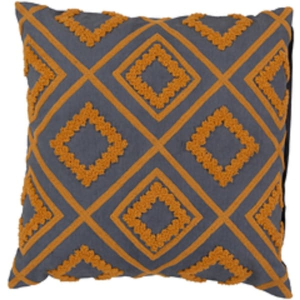 "22"" Apricot Orange and Charcoal Gray Diamond Cotton Decorative Throw Pillow"