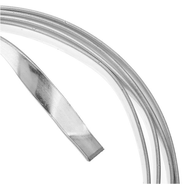 Artistic Wire, Flat Craft Wire 5mm 21 Gauge Thick, 3 Foot Coil, Tarnish Resistant Silver