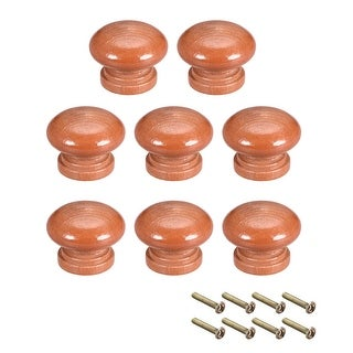 Cabinet Round Pull Knobs 33mm Dia Bedroom Kitchen Red Elm Wood 8pcs - 33mmx25mm(D*H)-8pcs