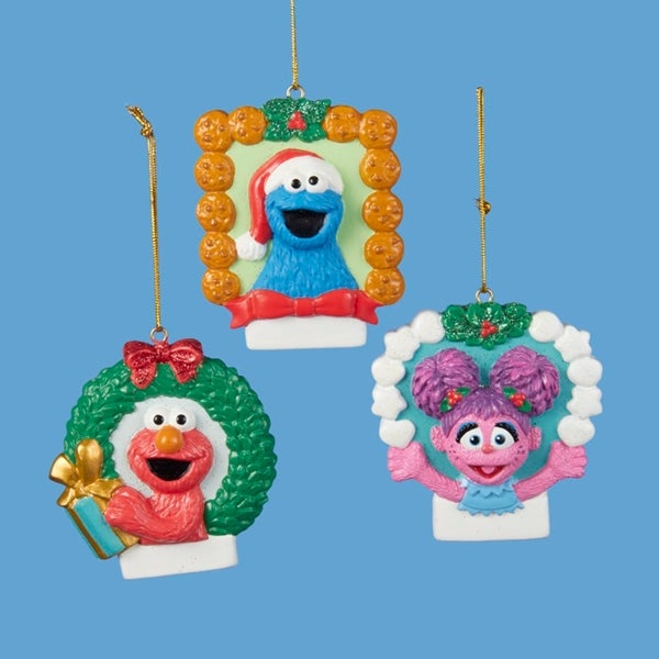 pack of 12 sesame street elmo cookie monster abby picture frame christmas ornaments