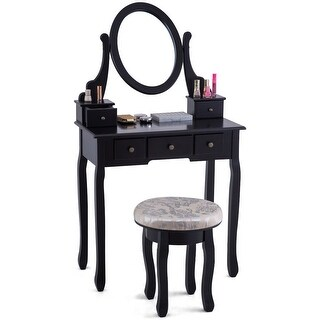 Costway Vanity Table Set Makeup Table Cushioned Stool Mirror 5 Drawers Black