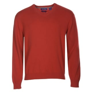 Alan Flusser Cashmere V-Neck Pullover Sweater Bright Red Large - L