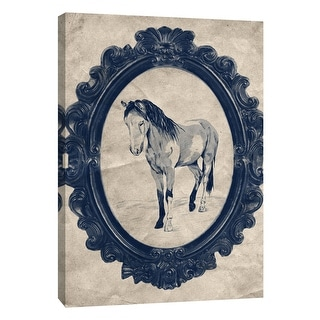 """PTM Images 9-108967  PTM Canvas Collection 10"""" x 8"""" - """"Framed Paint Horse in Navy"""" Giclee Horses Art Print on Canvas"""