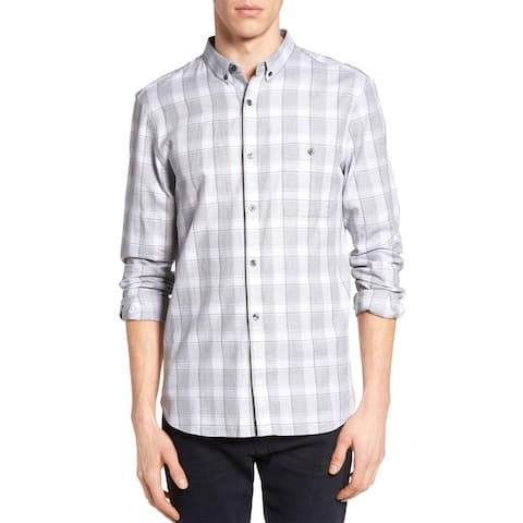 French Connection Mens Lifeline Check Sport Shirt XX-Large Gray Pink Button Down