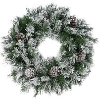 "24"" Flocked Angel Pine with Pine Cones Artificial Christmas Wreath - Unlit"