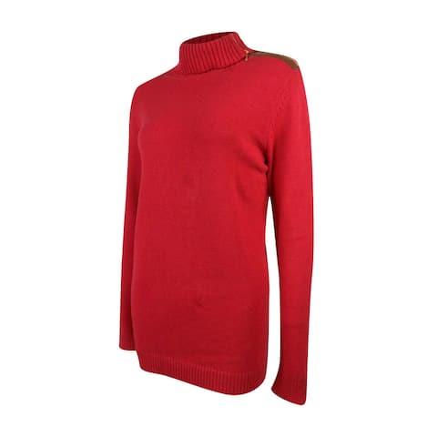 Charter Club Women's Zipper Fold-Over Collar Sweater