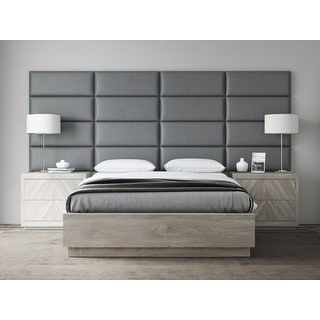 VANT Upholstered Headboards - Accent Wall Panels - Vintage Leather Gray Pewter - 30 Inch Queen-Full - Set of 4 panels.