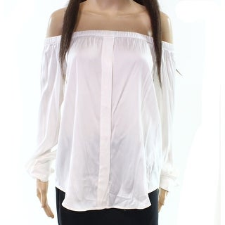 DKNY White Women's Size Medium M Button Down Hi-Lo Blouse Silk