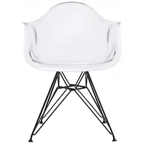 2xhome - Plastic Designer Chair Clear With Arm Armchairs Black Wire Legs