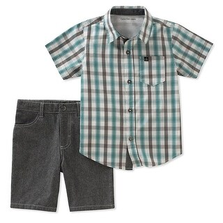 Calvin Klein Kids Boys 2T-4T 2 Piece Plaid Shirt And Shorts Set - grey