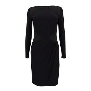 Lauren Ralph Lauren Women's Ruched Faux-Suede Jersey Dress - Black