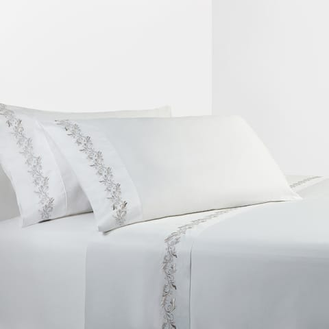 350 TC White Sheet Set with Gray Scroll Embroidery