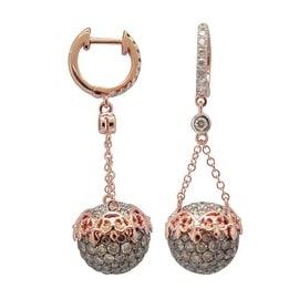 Brand New 4.62 Carat Natural Brown & White Diamond Amazing Designer Drop Dangle Earring , 14k Rose Gold